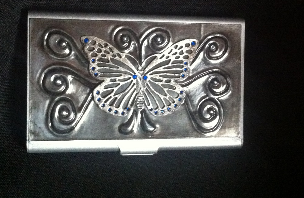 Small Metal Business Card Holder- Copper Jewelled Butterfly ...